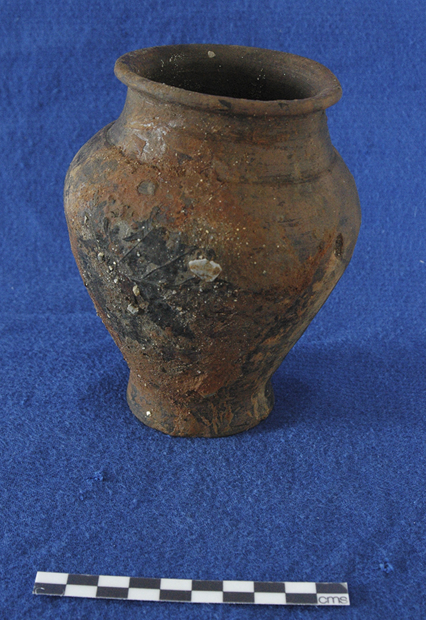 Iron Age pot from well with maple leaf attached